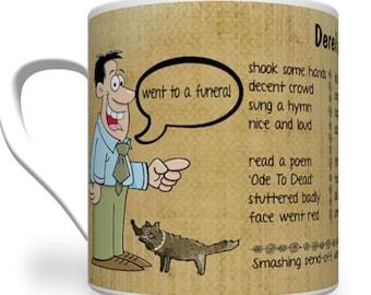 Poetry Mug. Derek's Diary - The Funeral. Funny Poetry Mug. Poetry Gift. Mug With Poem On.