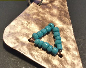 Natural copper, rounded triangle, hand hammered, turquoise glass beads.