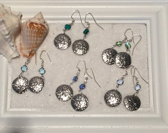 Swarovski and Sand dollar Earrings, beach jewelry