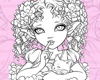 PNG Digital Stamp - Primrose Elf - Big Eye Girl with a Kitten - Instant Download - Fantasy Line Art for Cards & Crafts by Mitzi Sato-Wiuff