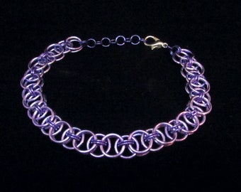 Lavender and Purple / Amethyst / Steven Universe / Easter / Chainmail / Chain Maille / Chainmaille / Helm's Weave / Bracelet / Gift