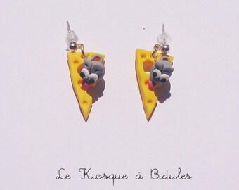 Boucles d'oreilles - Souris et fromage en fimo