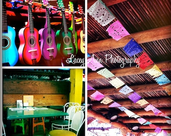 "Cinco De Mayo Fiesta colorful Photo Set of three 4"" square old town san diego bright rainbow festive"