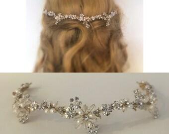 Bridal Headpiece, Wedding Hair Piece, Gold Hair Wreath, Bridal Hair Jewelry, Halo