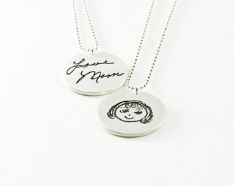 Actual Handwriting Double Sided Memorial Pendant