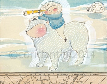 boy and polar bear, wall art for little boys room, Cori Dantini Nursery Art Print, Boy's Room Decorating Ideas Archival Limited edition