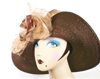 Brown Kentucky Derby Hat, Brown Womens Straw Hat,  Brown Easter Hat,