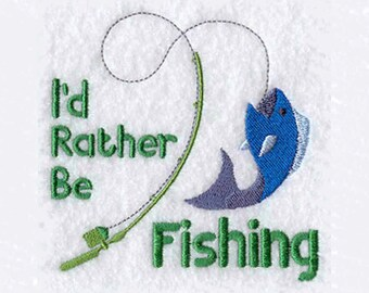 I'd Rather Be Fishing Hand Towel | Embroidered Kitchen Towel | Embroidered Tea Towel | Personalized Kitchen Towel | Embroidered Towel