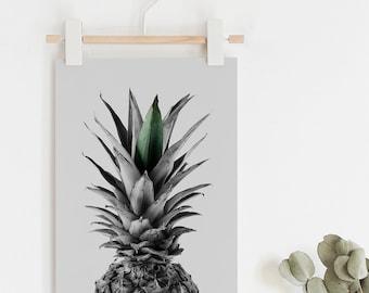 Pineapple Wall Art, Pineapple Print, Tropical Print, Black and White, Photography Print, Natural Decor, Nature Print