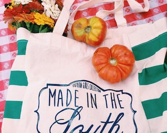 Made in the South Cotton Market Tote Bag - Canvas Farmers Market Tote - Reusable Bag - Southern Girls Collection design -Farmer's Market