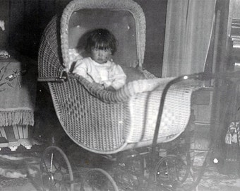 vintage photo Little Girl Aelcidean King in Buggy