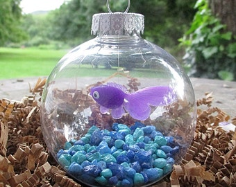 Fish Bowl Ornament - Purple Fish with Blue Stones - Christmas Ornament, Co-Worker Gift, Ornament Exchange Gift