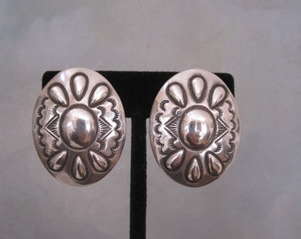Wilbur Tracy Sterling Silver Large Concha  Earrings Stamped Repousse Signed Navajo Native American