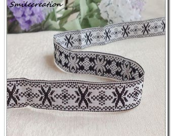 5 Metters fancy black background Jacquard Ribbon star farbenmix Ribbon white 10mm REF 2008