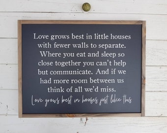 Large Framed Sign - Love grows best in little houses, Doug Stone Quote - Home Decor - 64x49cm Charcoal w White