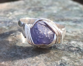 Tanzanite Crystal set in Sterling Silver Wire-Wrapped Ring, sz. 8.75
