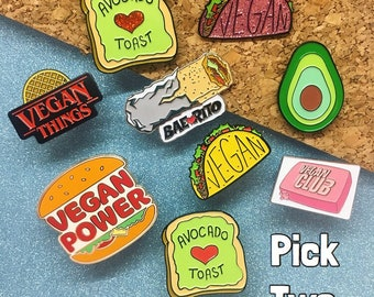 VEGAN PIN DEAL: Buy 2 & Save - Enamel Pin Lapel Pin Badge - Vegan Pizza Vegan Metal Vegan Things Vegan Club Avocado Vegan Taco