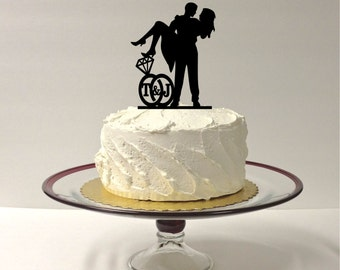 MADE In USA, Personalized Wedding Cake Topper With YOUR Initials of the Bride and Groom, Ring Design, Cute Cake Topper, Silhouette Wedding