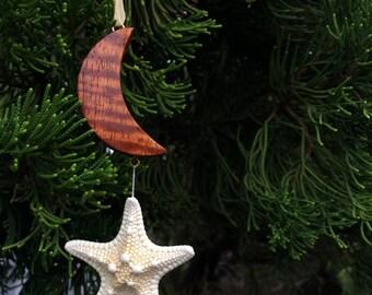 Handcrafted Hawaiian Koa Wood Moon and Star Christmas Ornament Made In Hawaii