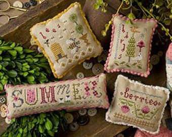 LIZZIE*KATE Summer Smalls counted cross stitch patterns INCLUDES embellishments at thecottageneedle.com Easter bee hive May June berries