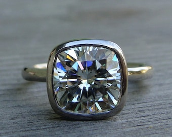 Moissanite Palladium Engagement Ring - Forever One G-H-I (Square Cushion Cut) and Recycled 950 Palladium, 3 / Three Carat - Made to Order