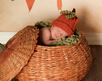 READY TO SHIP Pumpkin Hat - fits babies to adults