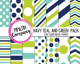Navy, Teal and Green Digital Paper Pack, Scrapbook Paper, Blue,Teal, Green, Instant Download,  Polka Dots Stripes