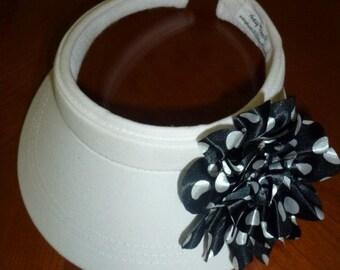 Ladies White Sun Visor with Black and White Polka Dot Flower, Golf White Sun Visor withPolka Dots