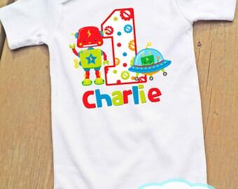 Toy Robot First Birthday Bodysuit or Tshirt - Personalized - Any Birthday