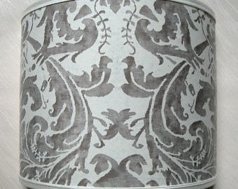 Wall Light Half Lampshade Fortuny Fabric Lucrezia in Pearl Grey & Antique White Wall Lamp - Handmade in Italy