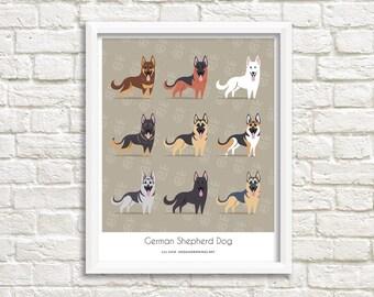 German Shepherd Dogs art print