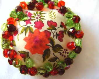 Liberty fabric, Red and green, Hand stitched, hand embroidered, Ring or brooch, floral, by NewellsJewels on etsy