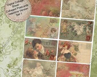 Digital Instant Download Printable Collage Sheet - Collaged Postcards Valentine Version Set 1 Misc Size