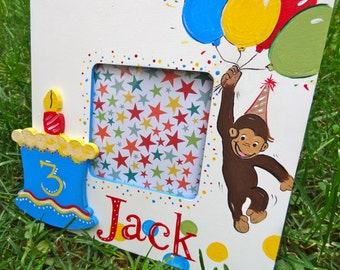 Personalized Custom Birthday Boutique Picture Frame Curious George Monkey
