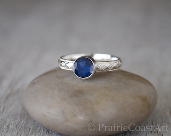 Sapphire Ring in Sterling Silver - Handcrafted Sterling Silver Sapphire Ring -  Sapphire stacking Ring - September Birthstone Ring