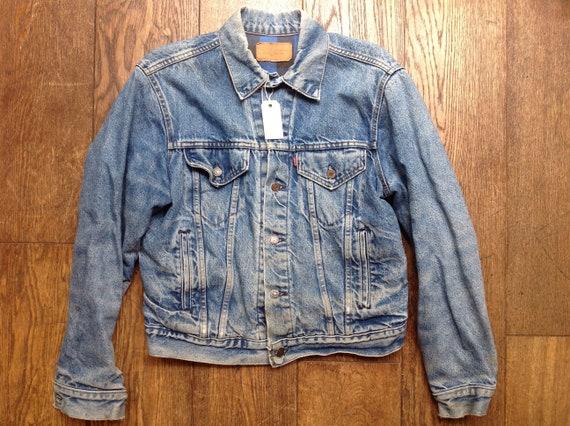 "Vintage 1980s 80s Levis Strauss type three red tab flannel lined denim jacket indigo workwear trucker small e 44"" chest"