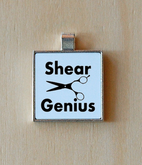 Hairstylist pendant, shear genius, cutting shears, funny jewelry, silver pendant, sarcasm, statement necklace, scissors, puns, stylist gift