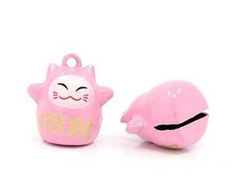 Maneki Neko Japanese cats 2 bells, rose, lucky