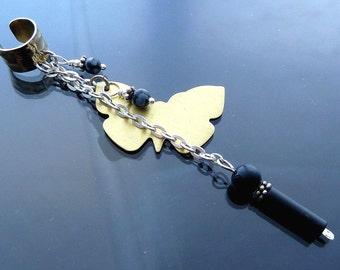 Long Butterfly in flight Ear Cuff with sterling silver gold brass black onyx n snowflake obsidian necklace OOAK jewelry