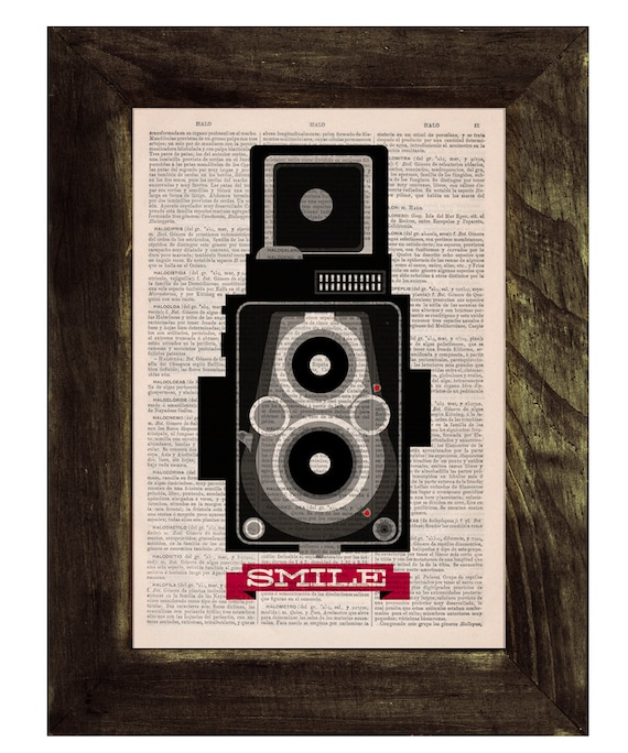 Vintage dictionary Print - Old Photo  Camera- Encouraging quote ,smile.  Print on Vintage Book page. Upcycled art TVH151
