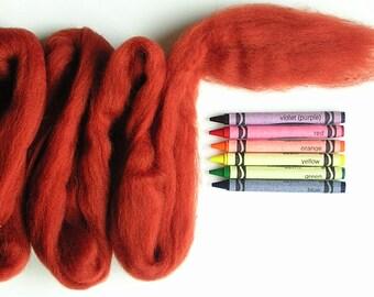 CORRIEDALE WOOL ROVING / Nutmeg Brown 1 ounce / corriedale roving for needle felting, animal fur, wet felting, weaving, spinning, doll hair