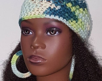Green Mashup Crochet Skullcap Beanie and Earrings by Razonda Lee Razondalee