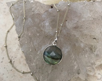 Small Faceted Labradorite Pendant on Sterling Silver Satellite Chain.
