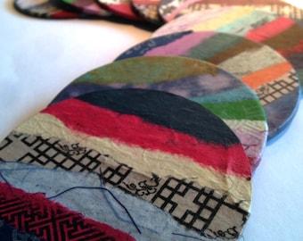 Patchwork Coasters Hanji Paper Coasters, Colorful Organic Design Handmade Zen Great Gift