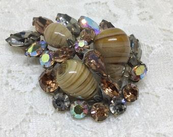 Vintage REGENCY Jewels Signed Art Glass and Rhinestone Brooch Pin