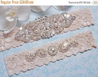 ON SALE Wedding Garter Set, Wedding Garter, Garter, Ivory Lace Wedding Garter Set, Ivory Bridal Garter Belt, Wedding Lingerie, Style -705
