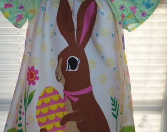Vintage fabric Happy Easter Bunny  and Eggs   Dress Size 3t  21in length