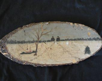 Vintage Original Oil Painting on Wood Winter Landscape Primitive Folk Art 1930's