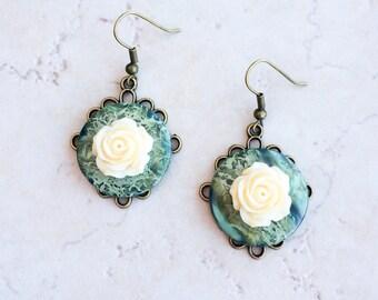 Green Agate Stone Earrings, Green Button Flower Earrings