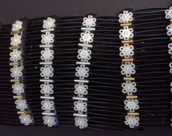 Pair beaded hair combs